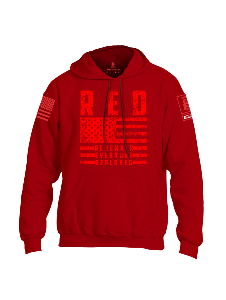 Battleraddle RED Remember Everyone Deployed Red Sleeve Print Mens Blended Hoodie With Pockets