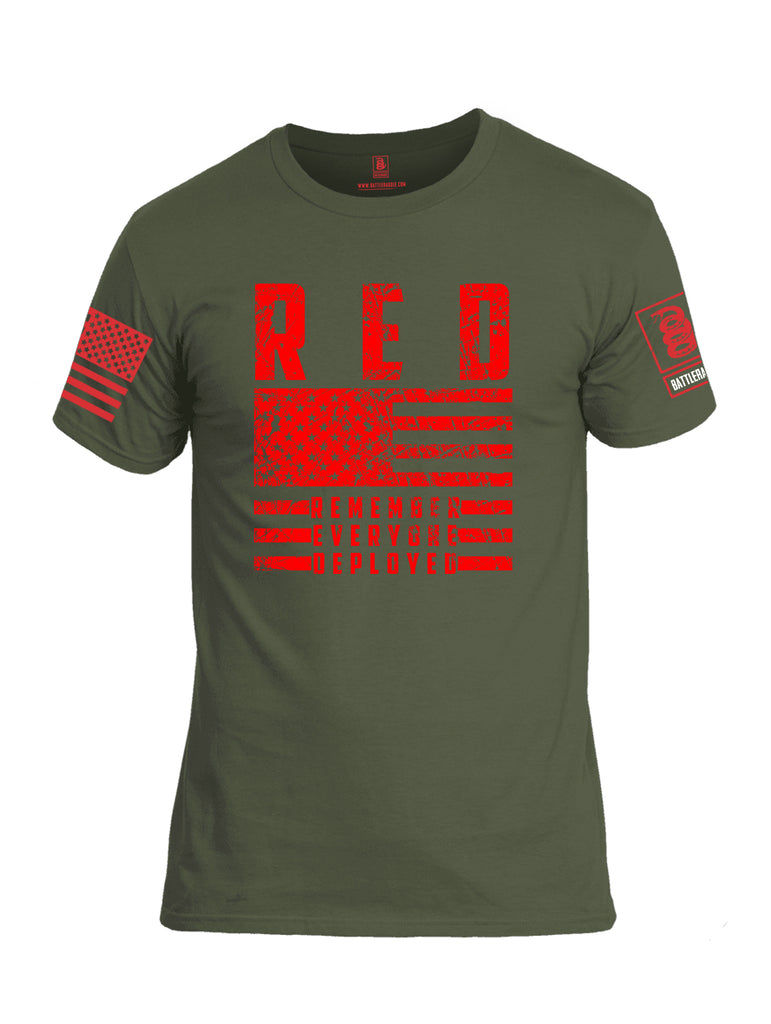 Battleraddle RED Remember Everyone Deployed Red Sleeve Print Mens Cotton Crew Neck T Shirt