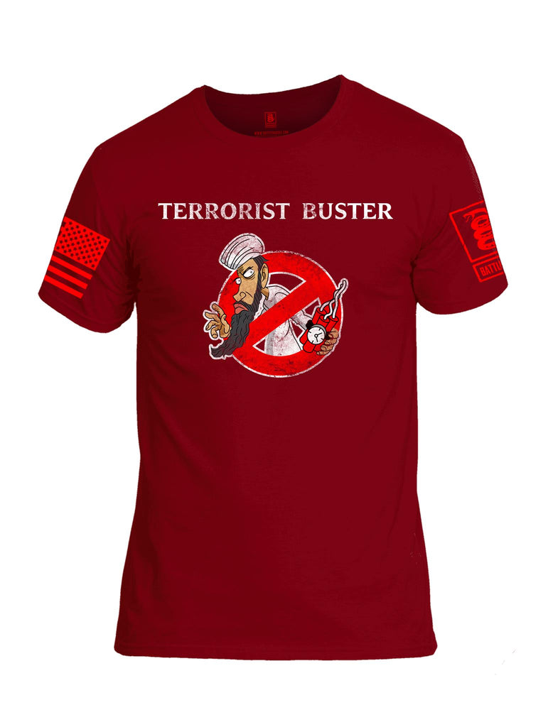 Battleraddle Terrorist Buster V3 Red Sleeve Print Mens Cotton Crew Neck T Shirt
