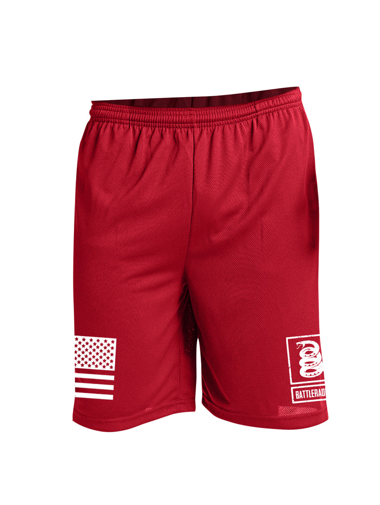 Battleraddle Flag And Snake Logo White Leg Print 100% Battlefit Polyester Mens Elastic Waistband Shorts With Pockets