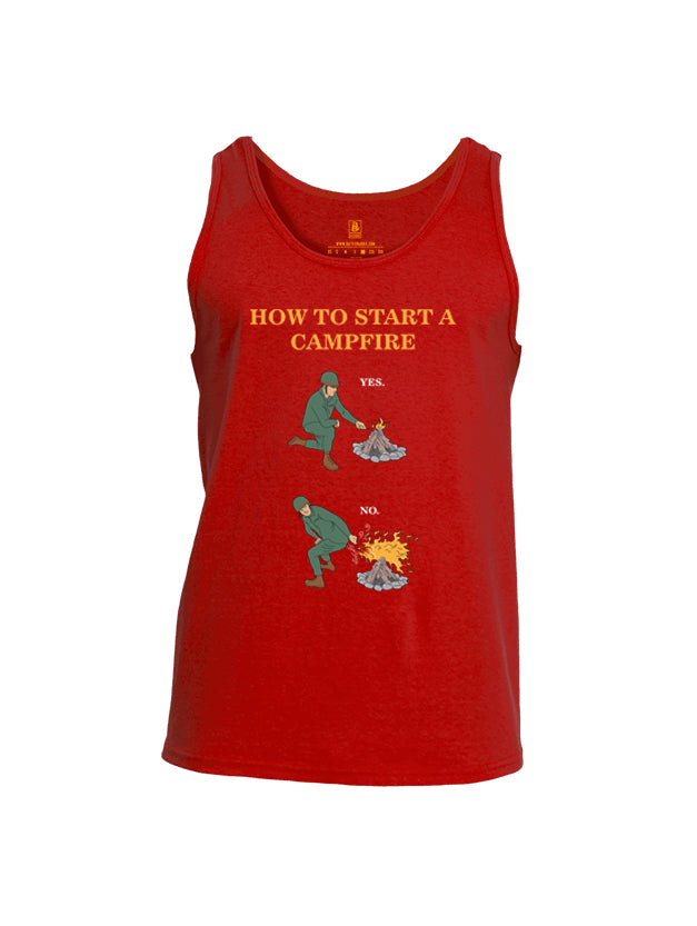 Battleraddle How To Start A Camp Fire Yes No Mens Cotton Tank Top