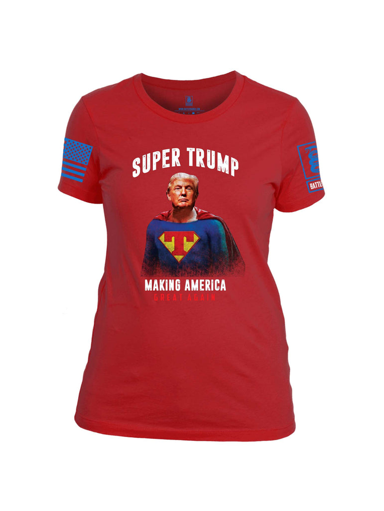 Battleraddle Super Trump Making America Great Again Blue Sleeve Print Womens Cotton Crew Neck T Shirt