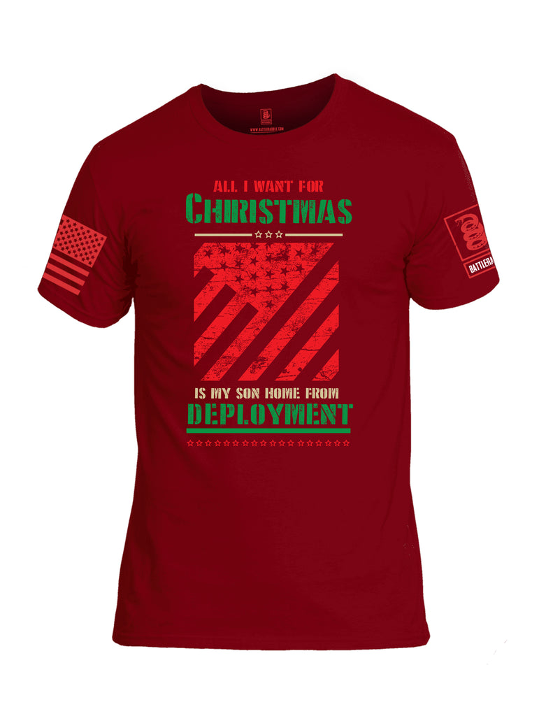 Battleraddle All I Want For Christmas Is My Son Home From Deployment Red Sleeve Print Mens Cotton Crew Neck T Shirt
