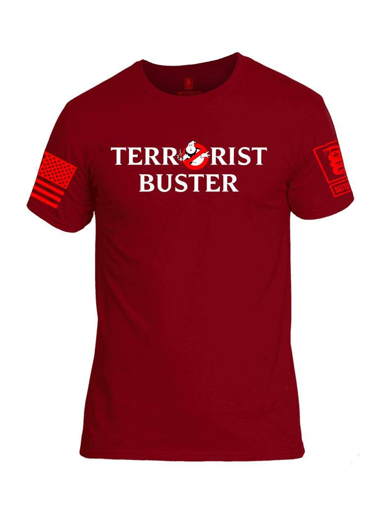 Battleraddle Terrorist Buster V2 Red Sleeve Print Mens Cotton Crew Neck T Shirt