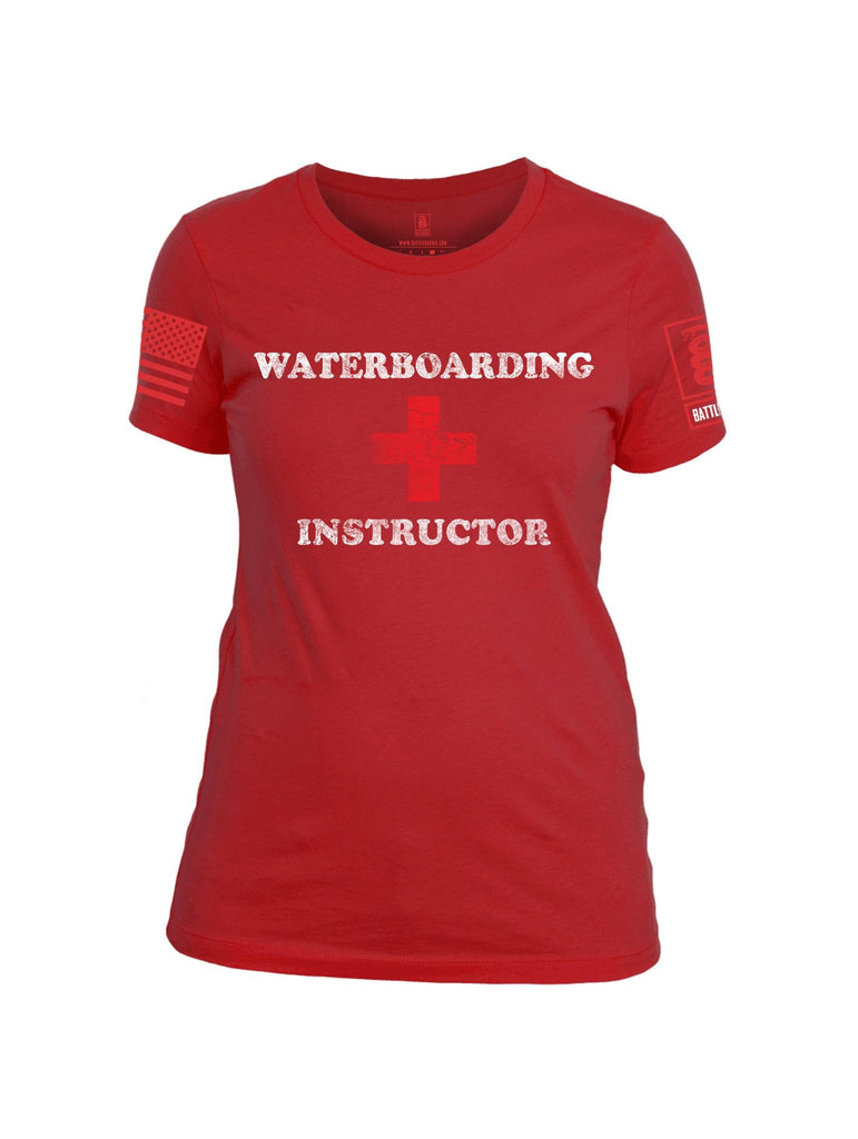 Battleraddle Waterboarding Instructor Red Sleeve Print Womens 100% Battlefit Polyester Crew Neck T Shirt