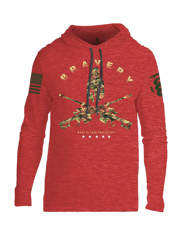 Battleraddle Bravery What Is Your Profession Dark Green Sleeve Print Mens Thin Cotton Lightweight Hoodie
