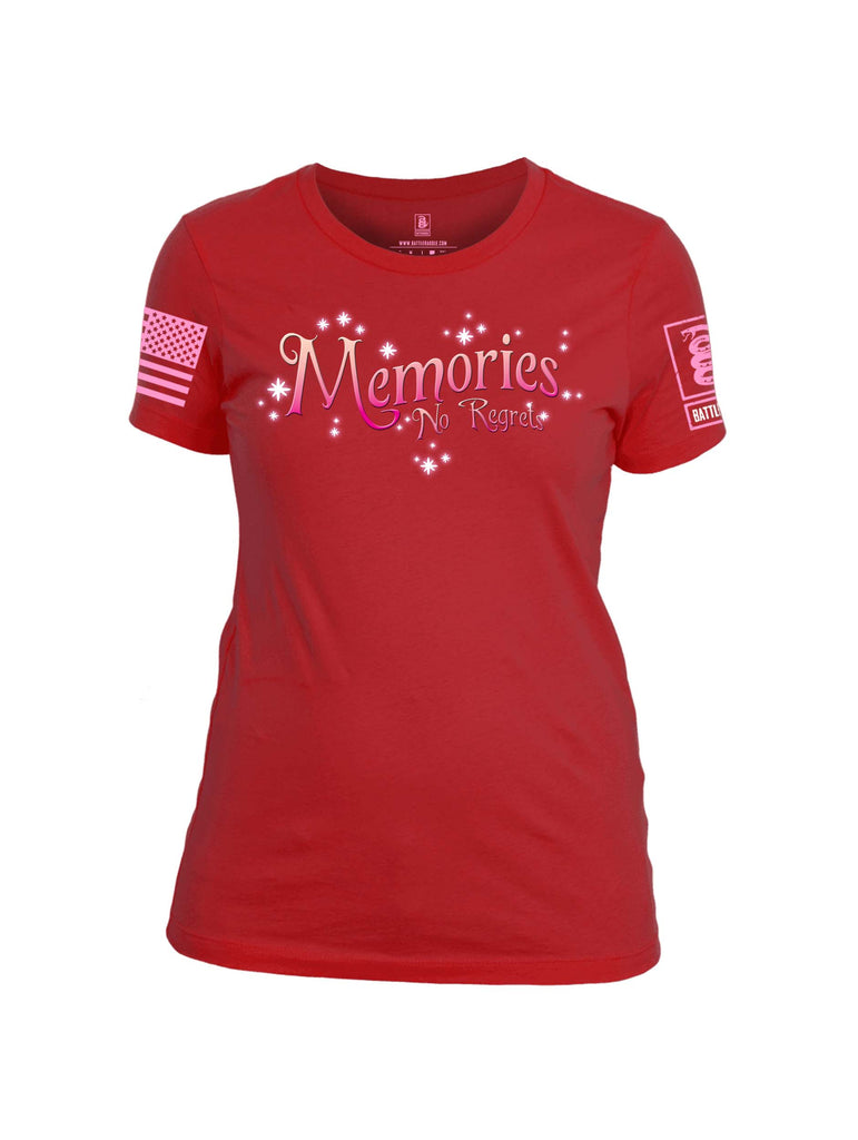 Battleraddle Memories No Regrets Pink Sleeve Print Womens 100% Battlefit Polyester Crew Neck T Shirt