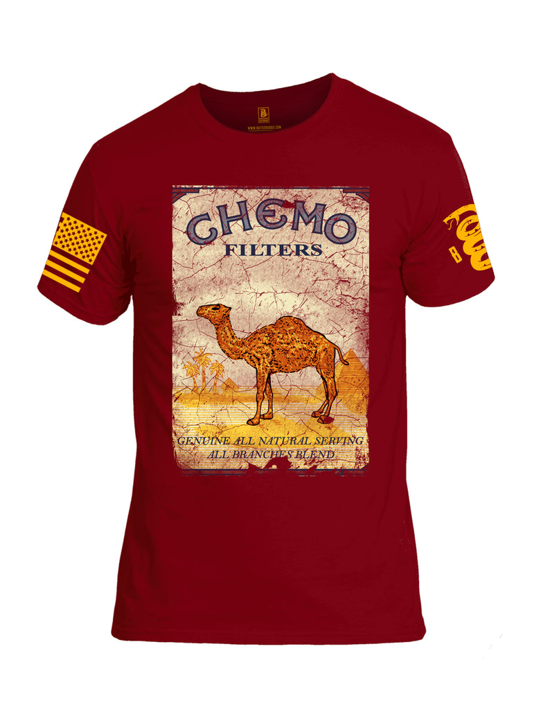 Battleraddle Chemo Filters Genuine All Natural Serving All Branches Blend Yellow Sleeve Print Mens Cotton Crew Neck T Shirt - Battleraddle® LLC