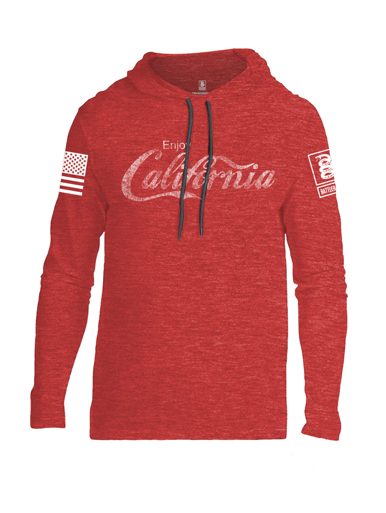 Battleraddle Enjoy California White Sleeve Print Mens Thin Cotton Lightweight Hoodie