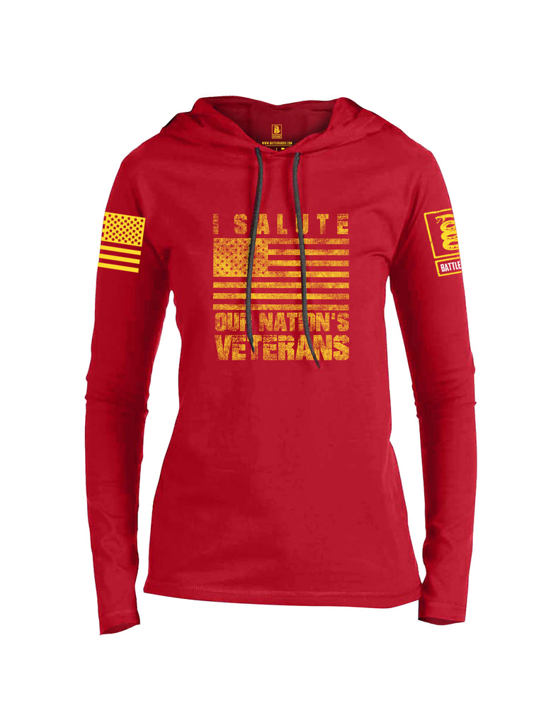 Battleraddle I Salute Our Nation's Veterans Yellow Sleeve Print Womens Thin Cotton Lightweight Hoodie