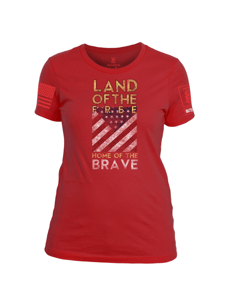 Battleraddle Land Of The Free Home Of The Brave Red Sleeve Print Womens 100% Battlefit Polyester Crew Neck T Shirt