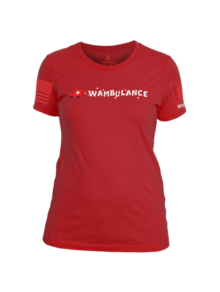 Battleraddle Wambulance Red Sleeve Print Womens 100% Battlefit Polyester Crew Neck T Shirt