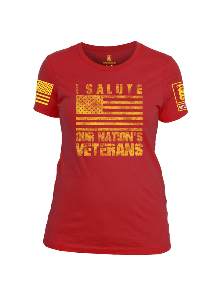 Battleraddle I Salute Our Nation's Veterans Yellow Sleeve Print Womens 100% Battlefit Polyester Crew Neck T Shirt