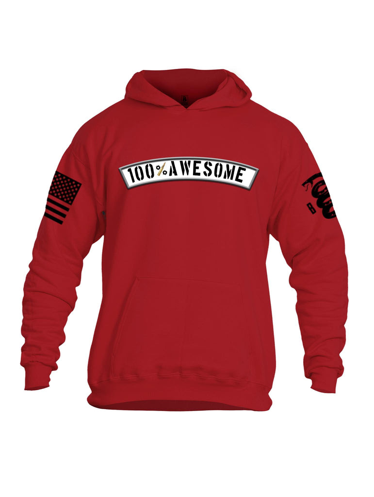 Battleraddle 100% Awesome Black Sleeve Print Mens Cotton Pullover Hoodie With Pockets - Battleraddle® LLC