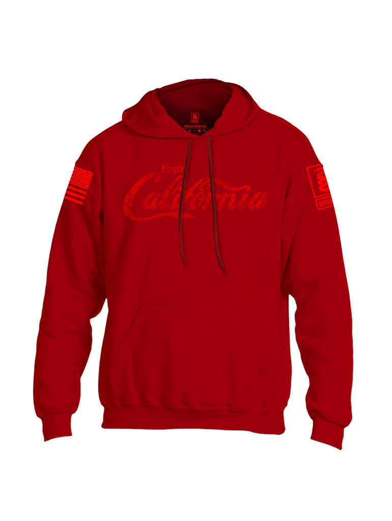 Battleraddle Enjoy California Red Sleeve Print Mens Blended Hoodie With Pockets