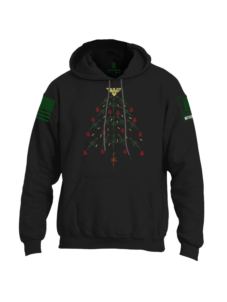 Battleraddle Christmas Rifle Tree Bomb Green Sleeve Print Mens Blended Hoodie With Pockets