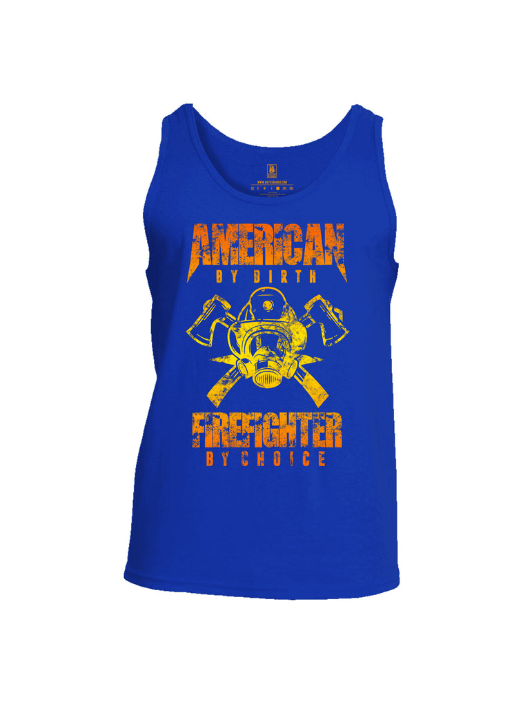 Battleraddle American By Birth Firefighter By Choice Mens Cotton Tank Top