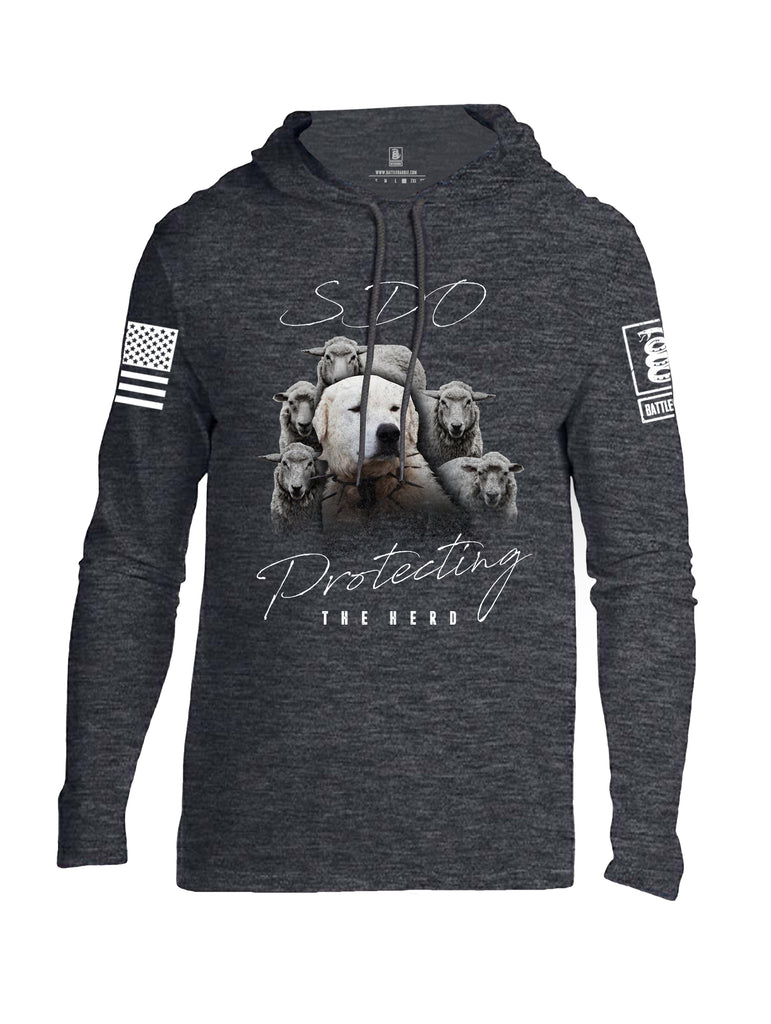 Battleraddle SDO Protecting The Herd White Sleeve Print Mens Thin Cotton Lightweight Hoodie