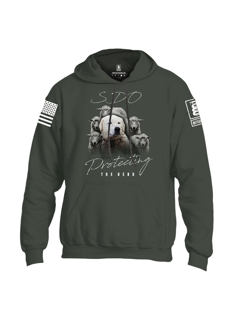 Battleraddle SDO Protecting The Herd White Sleeve Print Mens Blended Hoodie With Pockets
