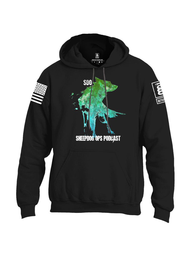 Battleraddle SDO Sheepdog Ops Podcast White Sleeve Print Mens Blended Hoodie With Pockets
