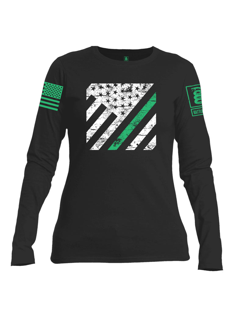 Battleraddle Vertical USA Flag Green Line Green Sleeve Print Womens Cotton Long Sleeve Crew Neck T Shirt