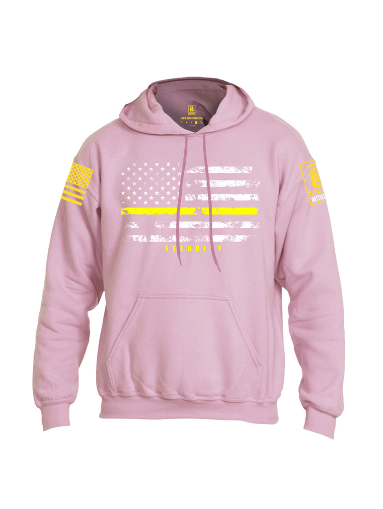 Battleraddle American Flag Yellow Line Security Yellow Sleeve Print Mens Blended Hoodie With Pockets