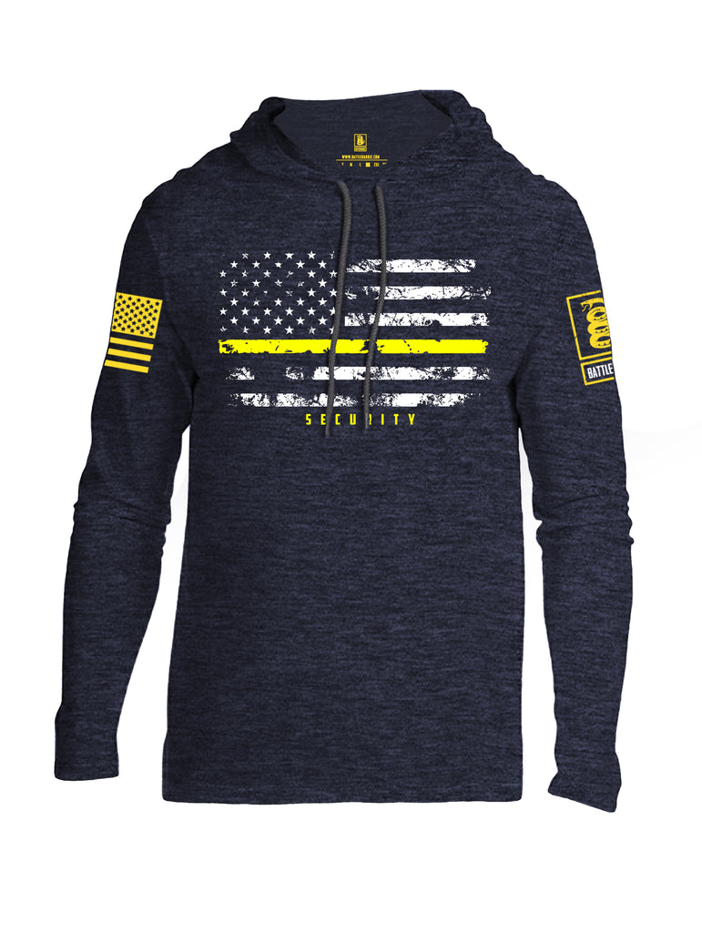 Battleraddle American Flag Yellow Line Security Yellow Sleeve Print Mens Thin Cotton Lightweight Hoodie