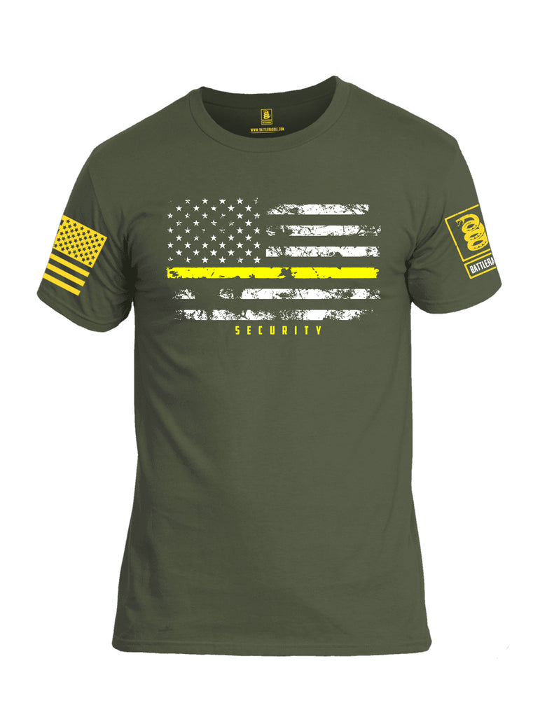 Battleraddle American Flag Yellow Line Security Yellow Sleeve Print Mens Cotton Crew Neck T Shirt