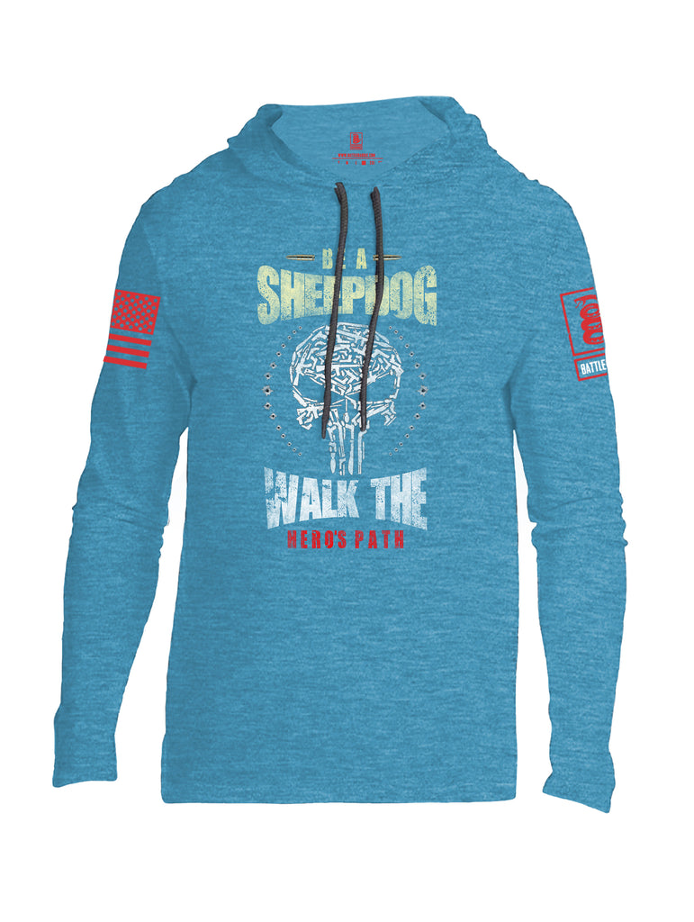 Battleraddle Be A Sheepdog Walk The Hero's Path Red Sleeve Print Mens Thin Cotton Lightweight Hoodie - Battleraddle® LLC