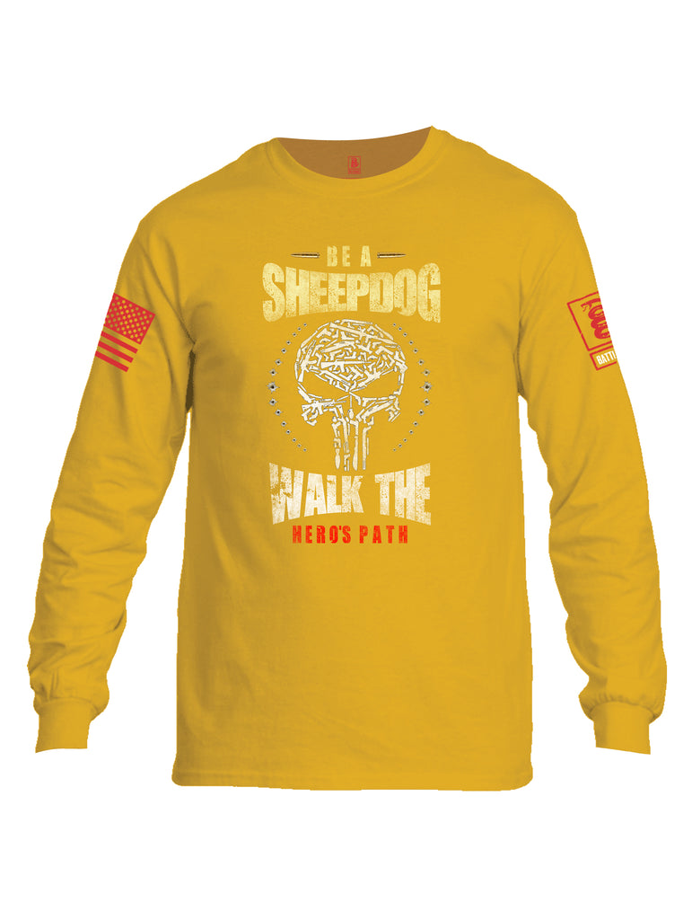 Battleraddle Be A Sheepdog Walk The Hero's Path Red Sleeve Print Mens Cotton Long Sleeve Crew Neck T Shirt - Battleraddle® LLC
