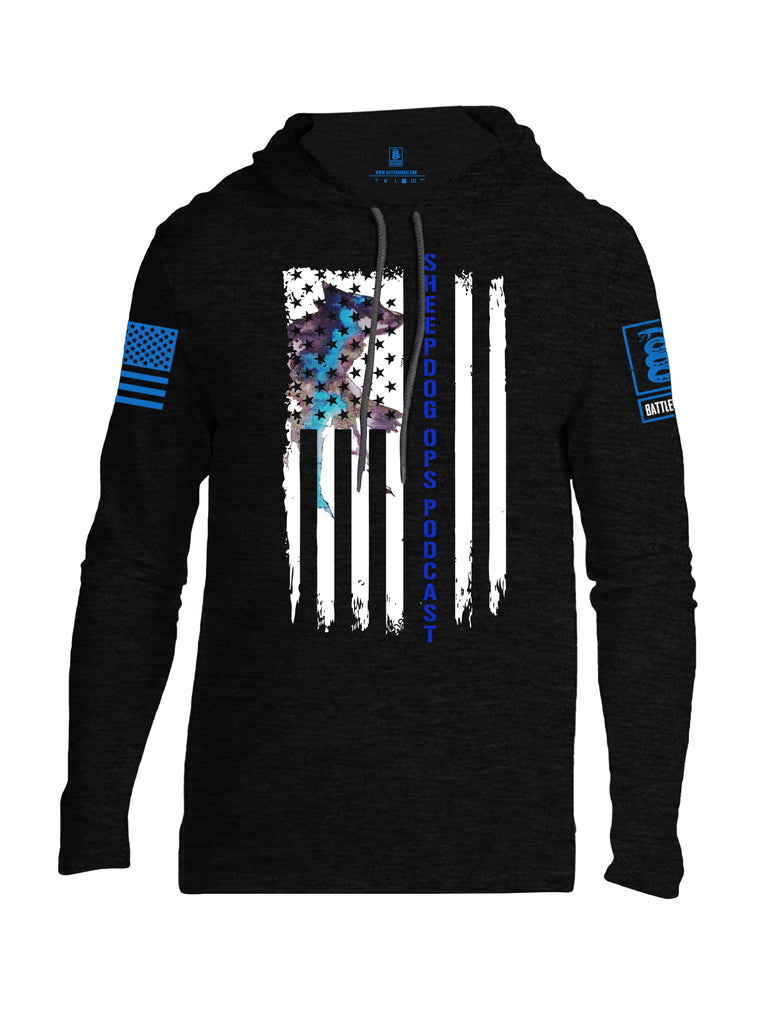Battleraddle Sheepdog Ops Podcast Vertical Flag Blue Sleeve Print Mens Thin Cotton Lightweight Hoodie