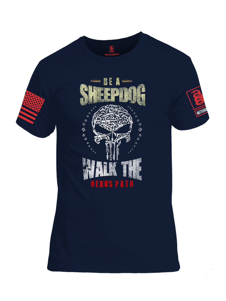Battleraddle Be A Sheepdog Walk The Hero's Path Red Sleeve Print Mens Cotton Crew Neck T Shirt - Battleraddle® LLC