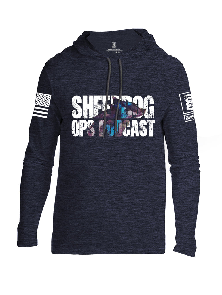 Battleraddle Sheepdog Ops Podcast White Sleeve Print Mens Thin Cotton Lightweight Hoodie
