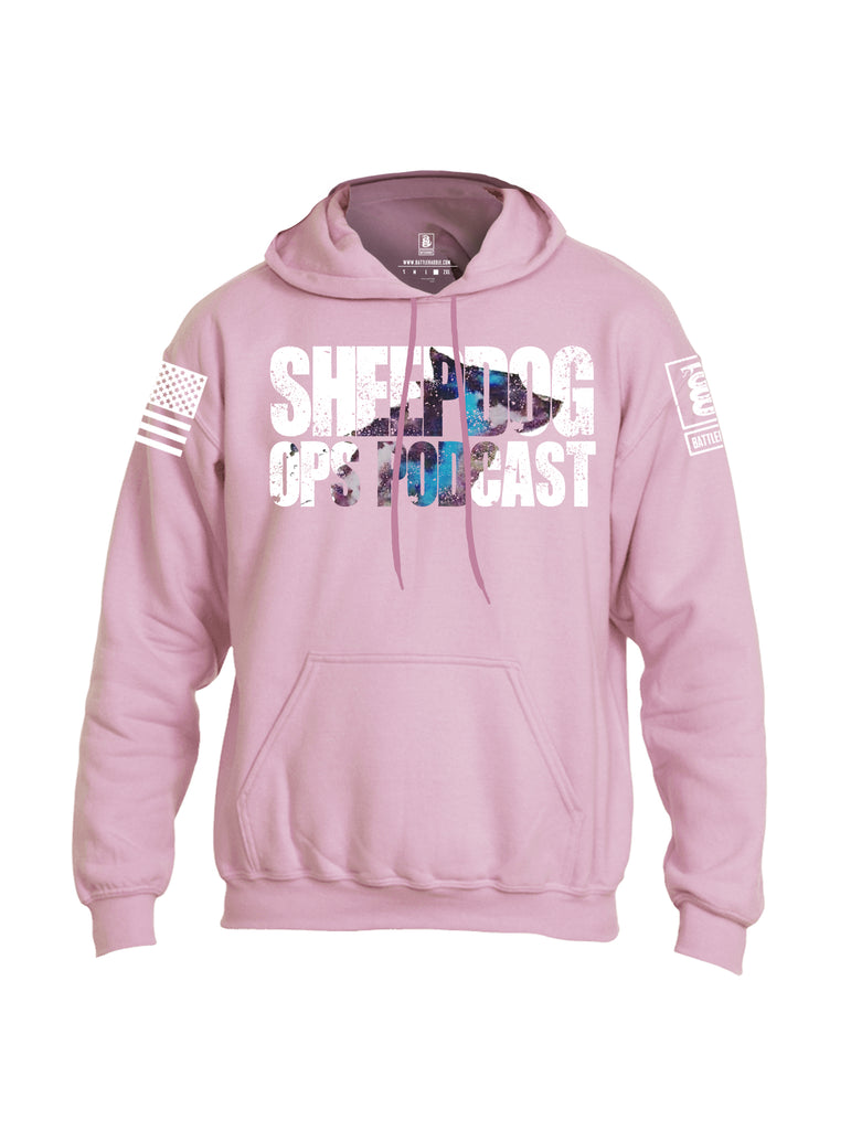 Battleraddle Sheepdog Ops Podcast White Sleeve Print Mens Blended Hoodie With Pockets