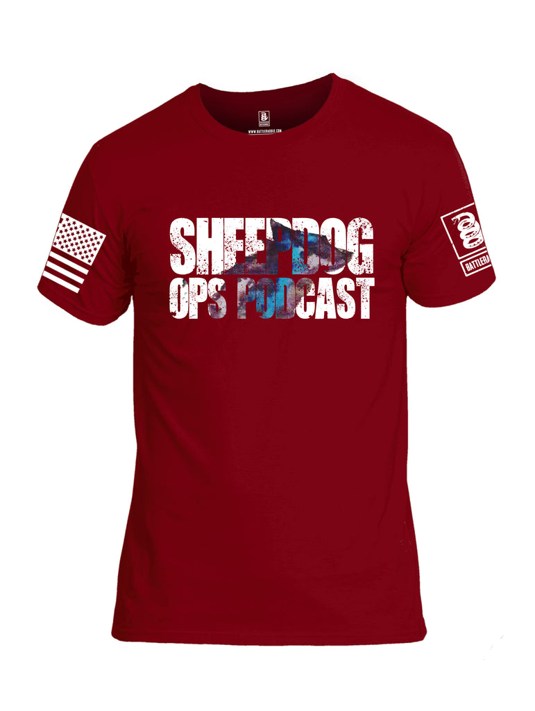 Battleraddle Sheepdog Ops Podcast White Sleeve Print Mens Cotton Crew Neck T Shirt