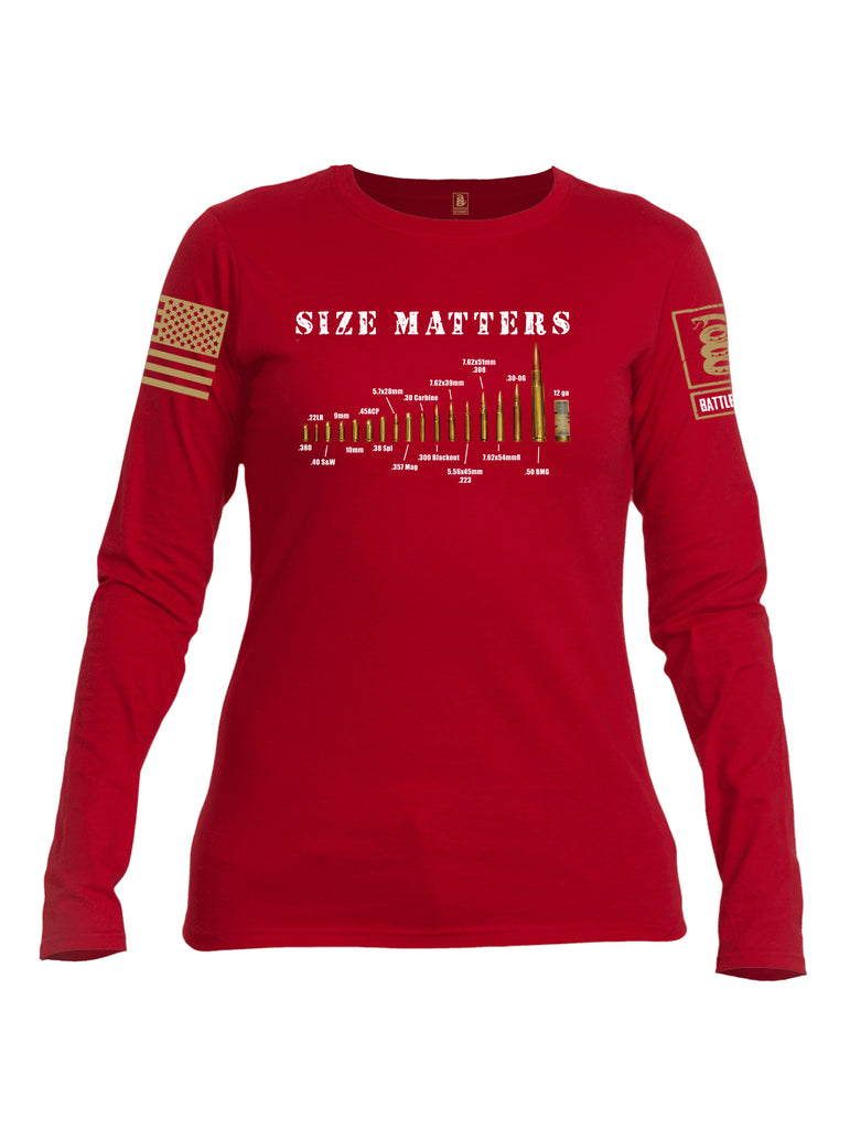 Battleraddle Size Matters Brass Sleeve Print Womens Cotton Long Sleeve Crew Neck T Shirt