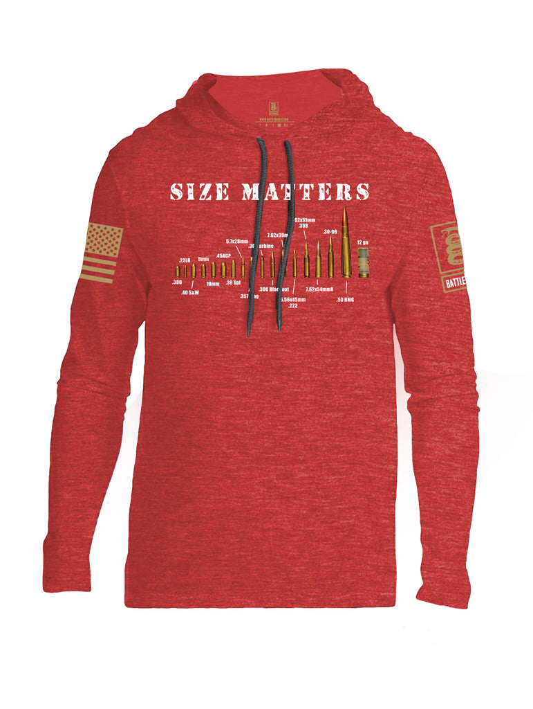 Battleraddle Size Matters Brass Sleeve Print Mens Thin Cotton Lightweight Hoodie