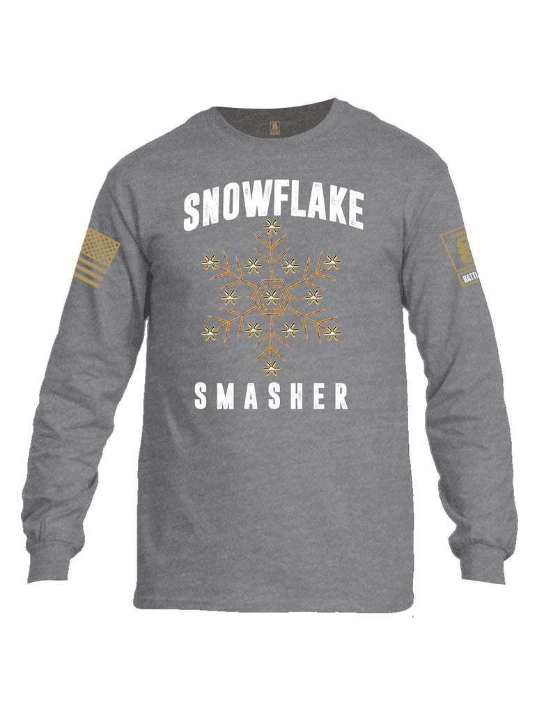 Battleraddle Snowflake Smasher Brass Sleeve Print Mens Cotton Long Sleeve Crew Neck T Shirt