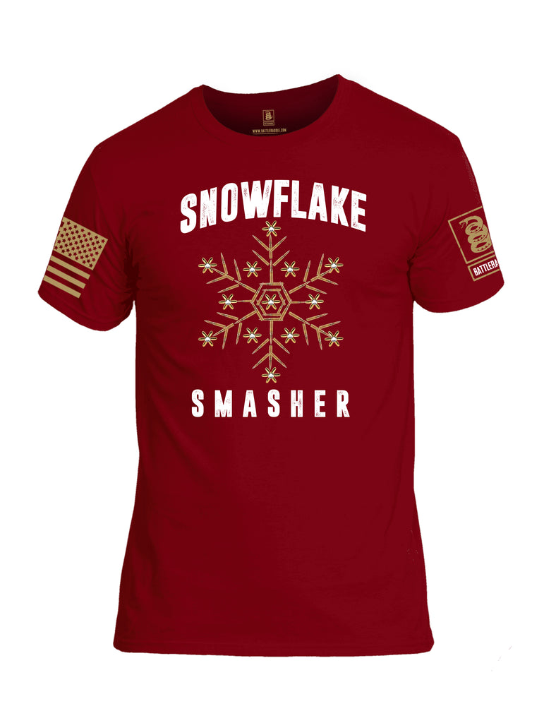 Battleraddle Snowflake Smasher Brass Sleeve Print Mens Cotton Crew Neck T Shirt