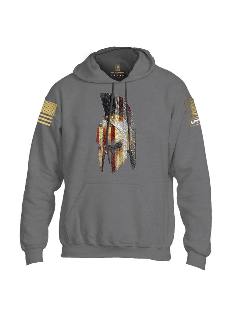 Battleraddle Spartan USA Flag Brass Sleeve Print Mens Blended Hoodie With Pockets shirt|custom|veterans|Apparel-Mens Hoodies-Cotton/Dryfit Blend