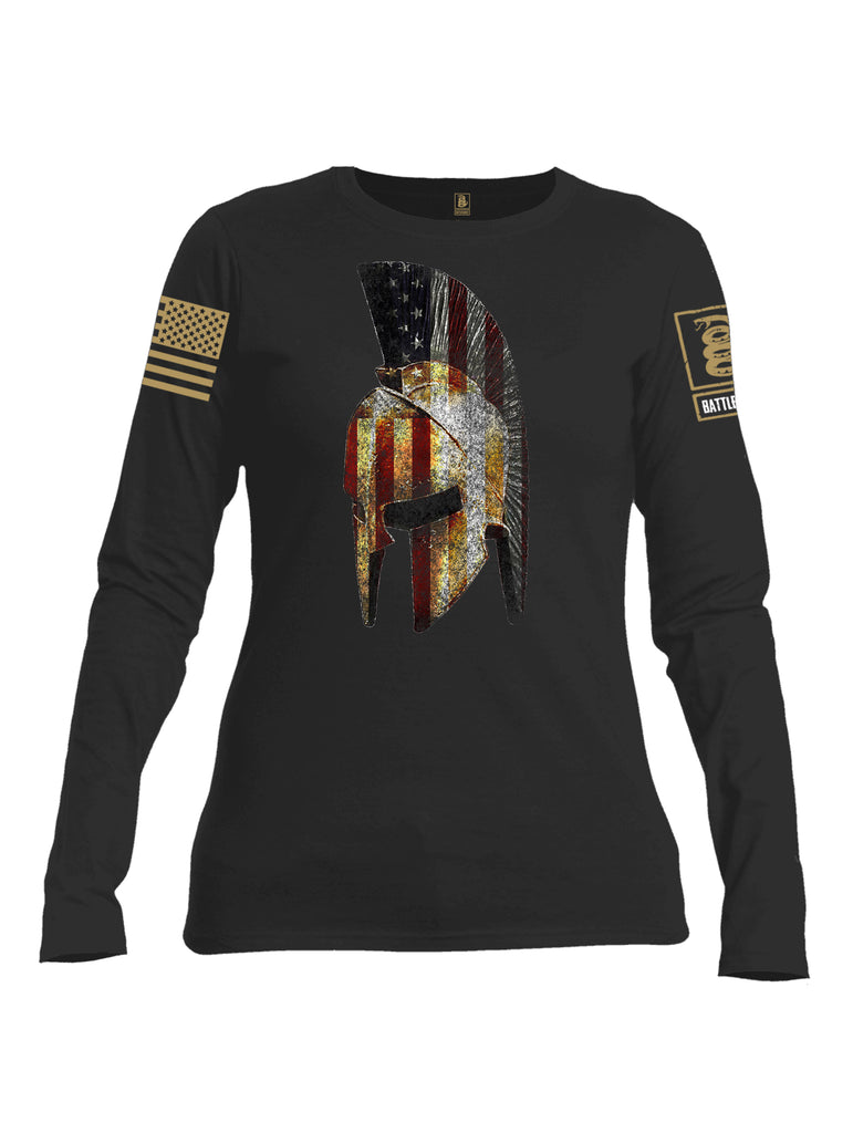 Battleraddle Spartan USA Flag Brass Sleeve Print Womens Cotton Long Sleeve Crew Neck T Shirt