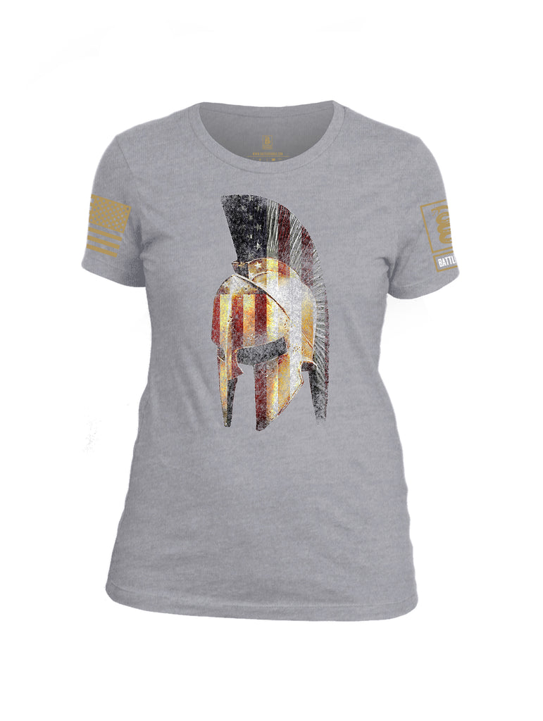 Battleraddle Spartan USA Flag Brass Sleeve Print Womens Cotton Crew Neck T Shirt