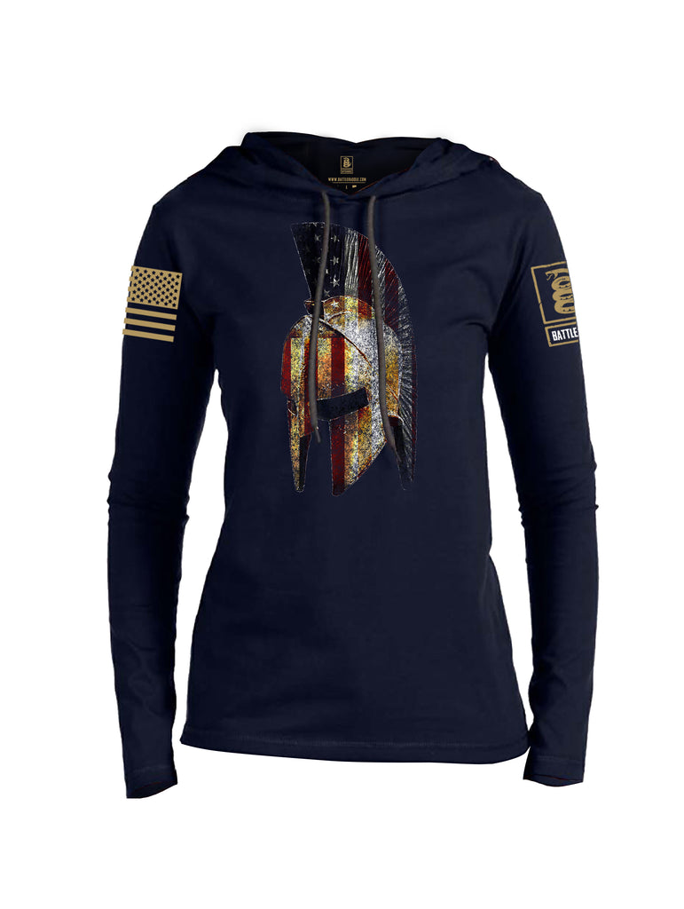 Battleraddle Spartan USA Flag Brass Sleeve Print Womens Thin Cotton Lightweight Hoodie