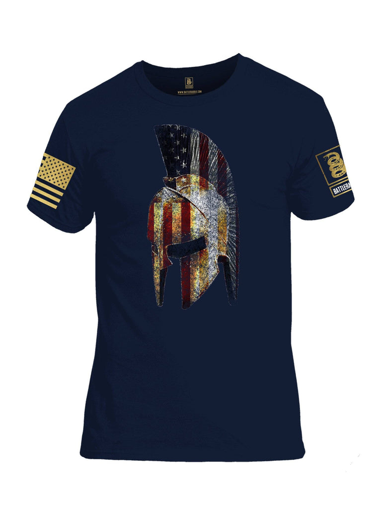 Battleraddle Spartan USA Flag Brass Sleeve Print Mens Cotton Crew Neck T Shirt shirt|custom|veterans|Apparel-Mens T Shirt-cotton