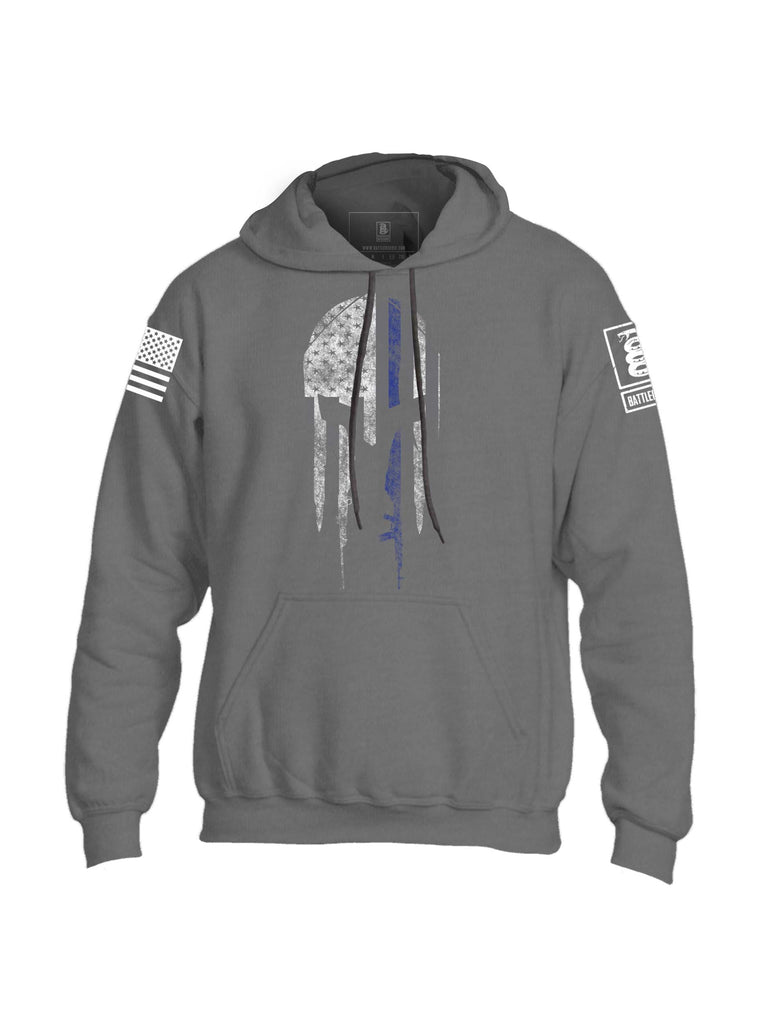 Battleraddle Spartan Blue Mens Blended Hoodie With Pockets