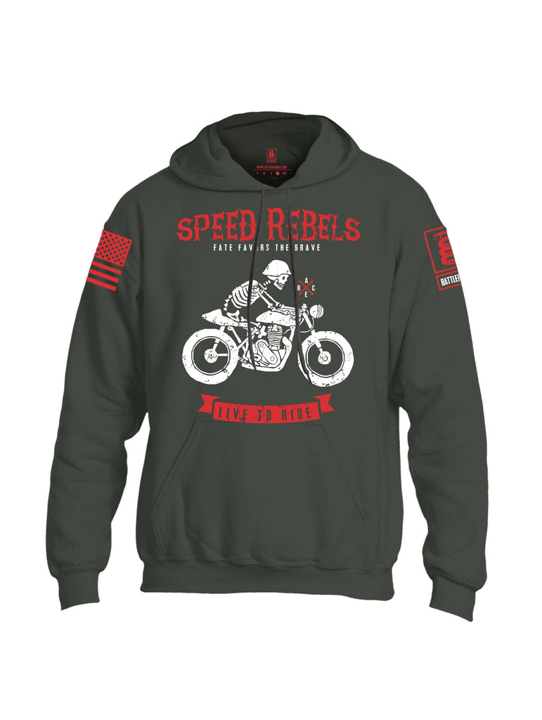 Battleraddle Speed Rebels Fate Favors The Brave Live To Ride Red Sleeve Print Mens Blended Hoodie With Pockets shirt|custom|veterans|Apparel-Mens Hoodies-Cotton/Dryfit Blend