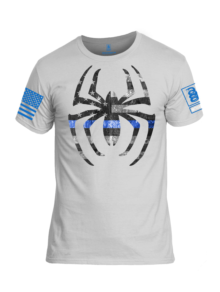 Battleradlde Webman Blue Line Blue Sleeve Print Mens Cotton Crew Neck T Shirt-White