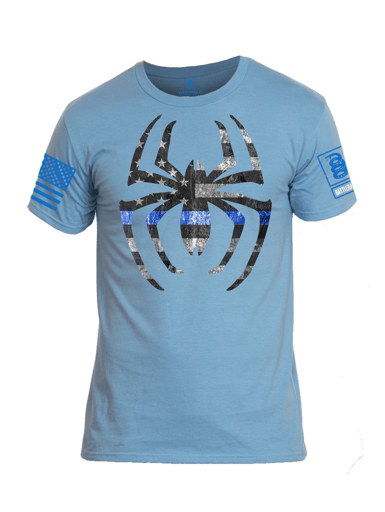 Battleradlde Webman Blue Line Blue Sleeve Print Mens Cotton Crew Neck T Shirt-Baby Blue