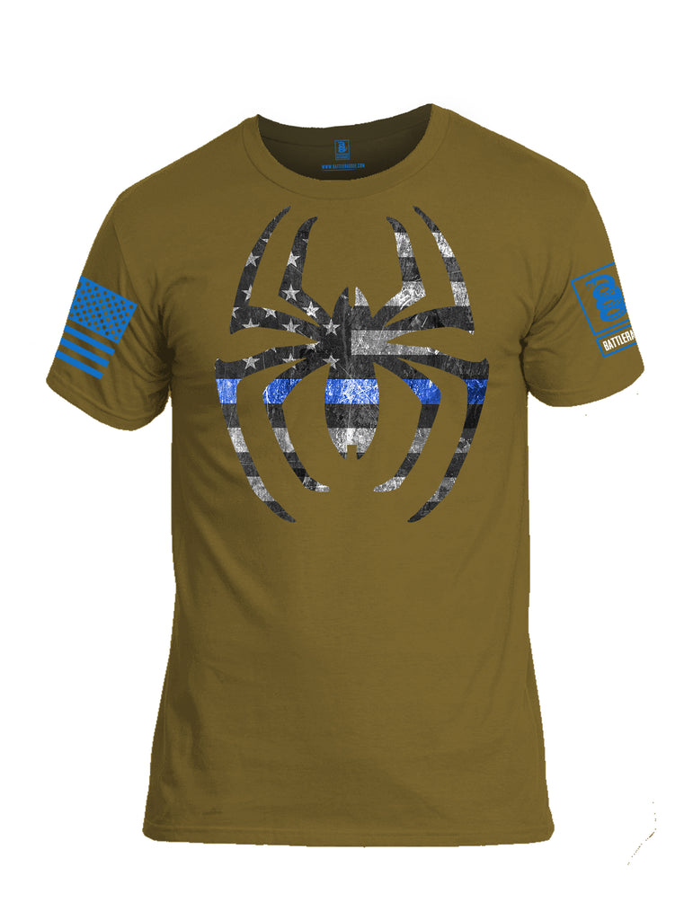 Battleradlde Webman Blue Line Blue Sleeve Print Mens Cotton Crew Neck T Shirt-Cayoye Tan