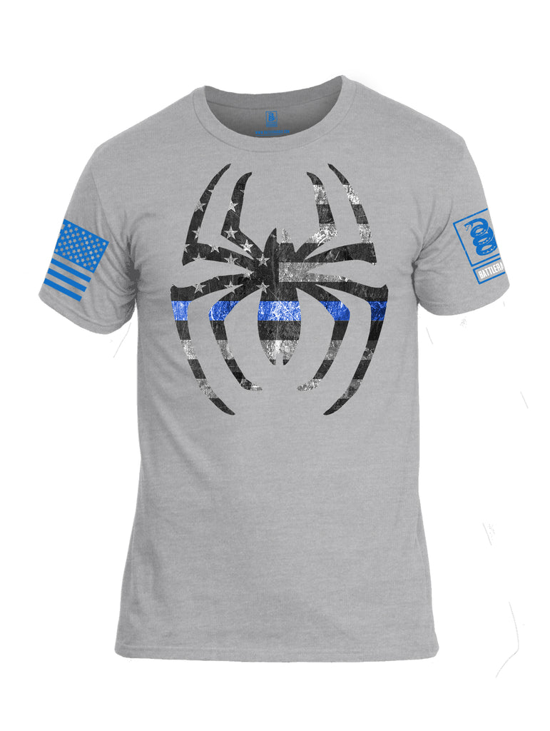 Battleradlde Webman Blue Line Blue Sleeve Print Mens Cotton Crew Neck T Shirt-Heather Grey